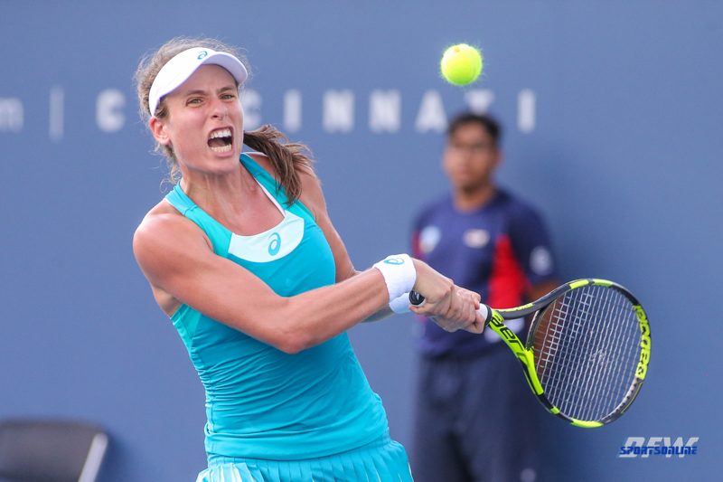 CINCINNATI, OH - AUGUST 15: Johanna Konta (GBR) hits a backhand during the Western & Southern Open at the Lindner Family Tennis Center in Mason, Ohio on August 15, 2017. (Photo by George Walker/Icon Sportswire)