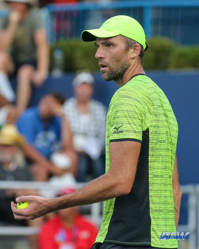 CINCINNATI, OH - AUGUST 15: Ivo Karlovic (CRO) prepares to serve during the Western & Southern Open at the Lindner Family Tennis Center in Mason, Ohio on August 15, 2017. (Photo by George Walker/Icon Sportswire)