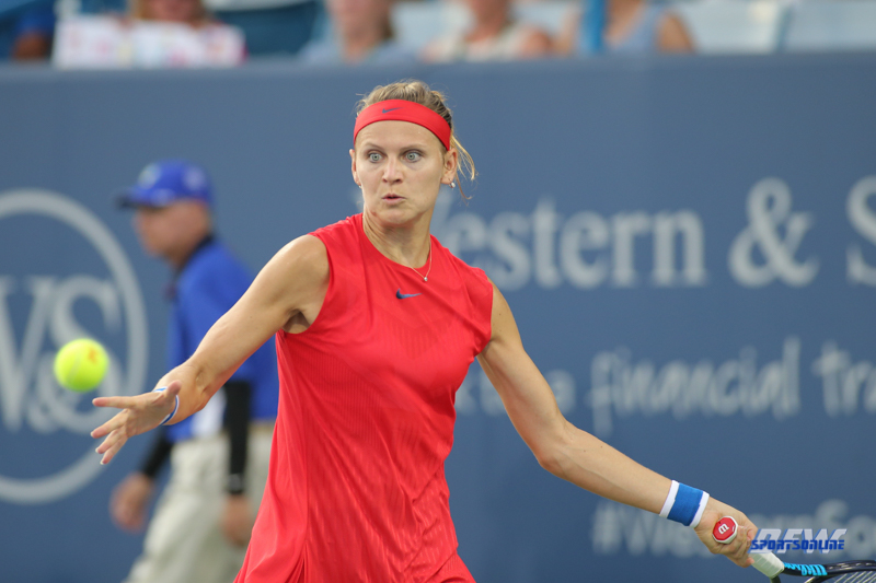 CINCINNATI, OH - AUGUST 15: Lucie Safarova (CZE) hits a forehand during the Western & Southern Open at the Lindner Family Tennis Center in Mason, Ohio on August 15, 2017. (Photo by George Walker/Icon Sportswire)