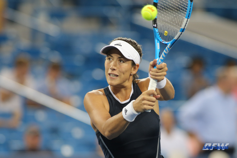 CINCINNATI, OH - AUGUST 15: Garbine Muguruza (ESP) hits a backhand during the Western & Southern Open at the Lindner Family Tennis Center in Mason, Ohio on August 15, 2017. (Photo by George Walker/Icon Sportswire)