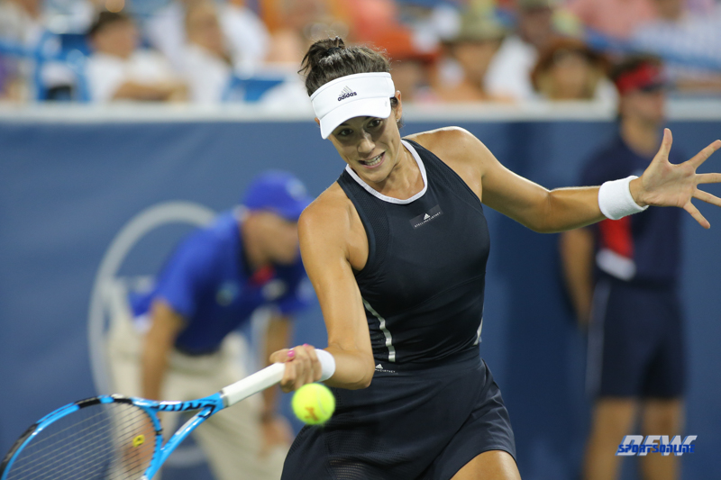 CINCINNATI, OH - AUGUST 15: Garbine Muguruza (ESP) hits a forehand during the Western & Southern Open at the Lindner Family Tennis Center in Mason, Ohio on August 15, 2017. (Photo by George Walker/Icon Sportswire)