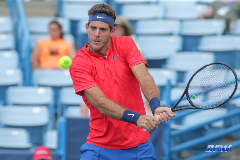 CINCINNATI, OH - AUGUST 16: Juan Martin Del Potro (ARG) hits a backhand during the Western & Southern Open at the Lindner Family Tennis Center in Mason, Ohio on August 16, 2017.(Photo by George Walker/Icon Sportswire)