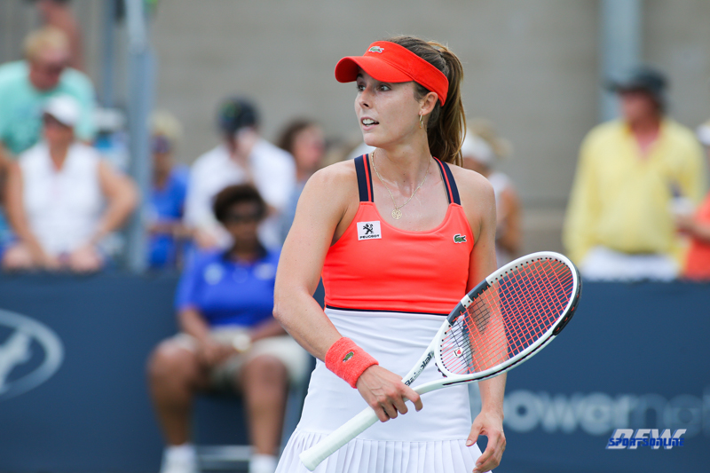 CINCINNATI, OH - AUGUST 16: Alize' Cornet (FRA) reacts to a point during the Western & Southern Open at the Lindner Family Tennis Center in Mason, Ohio on August 16, 2017.(Photo by George Walker/Icon Sportswire)