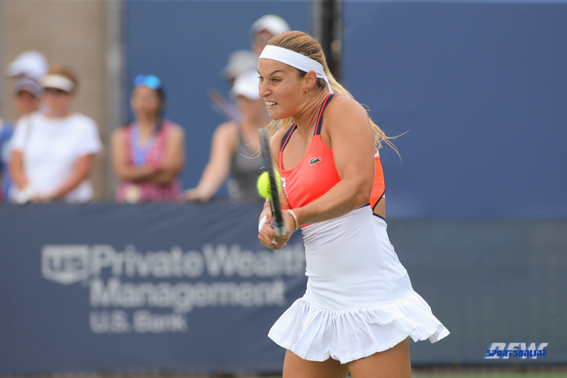CINCINNATI, OH - AUGUST 16: Dominika Cibulkova (SVK) hits a backhand during the Western & Southern Open at the Lindner Family Tennis Center in Mason, Ohio on August 16, 2017.(Photo by George Walker/Icon Sportswire)