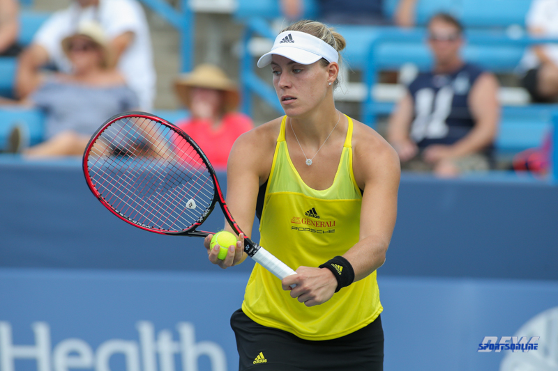 CINCINNATI, OH - AUGUST 16: Angelique Kerber (GER) prepares to serve during the Western & Southern Open at the Lindner Family Tennis Center in Mason, Ohio on August 16, 2017.(Photo by George Walker/Icon Sportswire)
