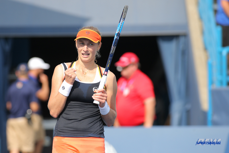 CINCINNATI, OH - AUGUST 16: Ekaterina Makarova (RUS) reacts to a point during the Western & Southern Open at the Lindner Family Tennis Center in Mason, Ohio on August 16, 2017.(Photo by George Walker/Icon Sportswire)