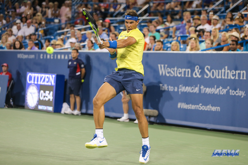 CINCINNATI, OH - AUGUST 16: Rafael Nadal (ESP) hits a forehand during the Western & Southern Open at the Lindner Family Tennis Center in Mason, Ohio on August 16, 2017.(Photo by George Walker/Icon Sportswire)