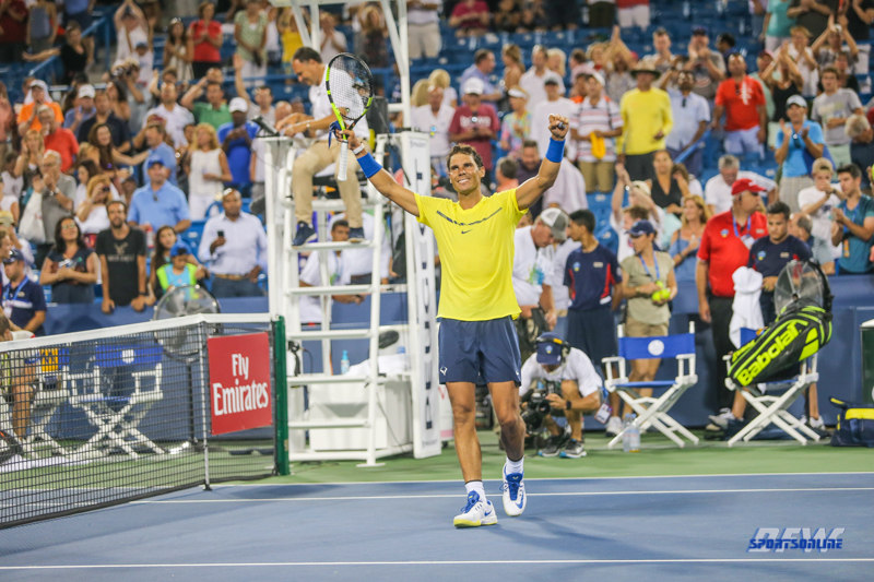 CINCINNATI, OH - AUGUST 16: Rafael Nadal (ESP) celebrates a victory during the Western & Southern Open at the Lindner Family Tennis Center in Mason, Ohio on August 16, 2017.(Photo by George Walker/Icon Sportswire)
