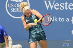 CINCINNATI, OH - AUGUST 14: Katerina Siniakova (CZE) hits a backhand during the Western & Southern Open at the Lindner Family Tennis Center in Mason, Ohio on August 14, 2017. (Photo by George Walker/Icon Sportswire)