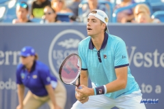 CINCINNATI, OH - John Isner (USA) receives serve during the Western & Southern Open at the Lindner Family Tennis Center in Mason, Ohio on August 13, 2017, (Photo by George Walker/DFWsportsonline