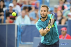 CINCINNATI, OH - Viktor Troicki (SRB) hits a backhand during the Western & Southern Open at the Lindner Family Tennis Center in Mason, Ohio on August 13, 2017, (Photo by George Walker/DFWsportsonline