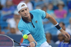 CINCINNATI, OH - John Isner (USA) hits a forehand volley during the Western & Southern Open at the Lindner Family Tennis Center in Mason, Ohio on August 13, 2017, (Photo by George Walker/DFWsportsonline