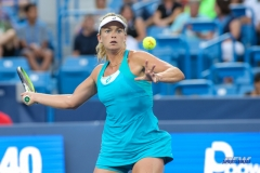 CINCINNATI, OH - AUGUST 14: CoCo Vandeweghe hits a forehand during the Western & Southern Open at the Lindner Family Tennis Center in Mason, Ohio on August 14, 2017. (Photo by George Walker/Icon Sportswire)