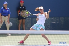CINCINNATI, OH - AUGUST 16: Martina Hingis (SUI) hits a volley during the Western & Southern Open at the Lindner Family Tennis Center in Mason, Ohio on August 16, 2017.(Photo by George Walker/Icon Sportswire)