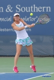 CINCINNATI, OH - AUGUST 16: Martina Hingis (SUI) hits a backhand during the Western & Southern Open at the Lindner Family Tennis Center in Mason, Ohio on August 16, 2017.(Photo by George Walker/Icon Sportswire)