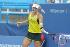 CINCINNATI, OH - AUGUST 16: Angelique Kerber (GER) hits a forehand during the Western & Southern Open at the Lindner Family Tennis Center in Mason, Ohio on August 16, 2017.(Photo by George Walker/Icon Sportswire)