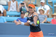 CINCINNATI, OH - AUGUST 16: Ekaterina Makarova (RUS) hits a forehand during the Western & Southern Open at the Lindner Family Tennis Center in Mason, Ohio on August 16, 2017.(Photo by George Walker/Icon Sportswire)