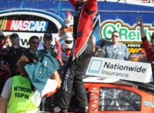 Kyle Busch celebrates in Victory Lane at Texas Motor Speedway. Photo by George Walker.