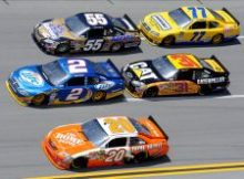 The Aaron's 499 at Talladega Superspeedway produced three-, sometimes four-wide, racing throughout the entire event. Credit: John Harrelson/Getty Images for NASCAR